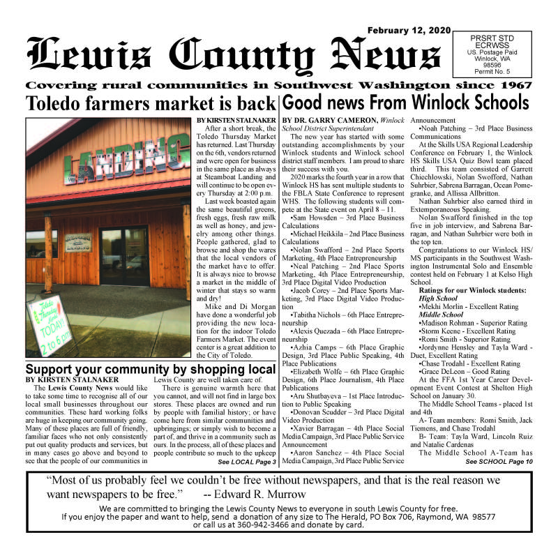 February 12, 2020 Lewis County News