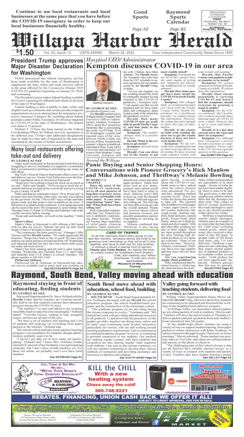 March 25, 2020 Willapa Harbor Herald and Pacific County Press
