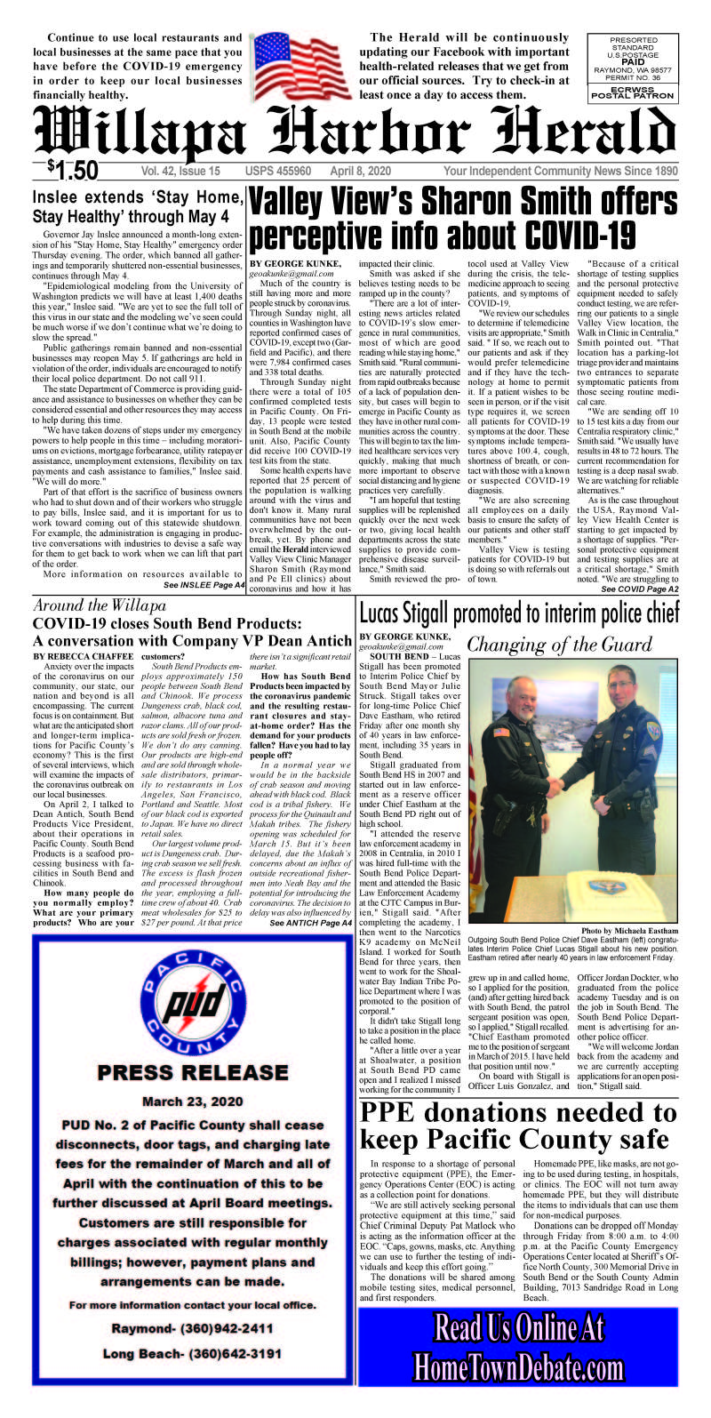 April 8, 2020 Willapa Harbor Herald and Pacific County Press