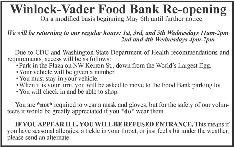 Winlock-Vader Food Bank Re-opening