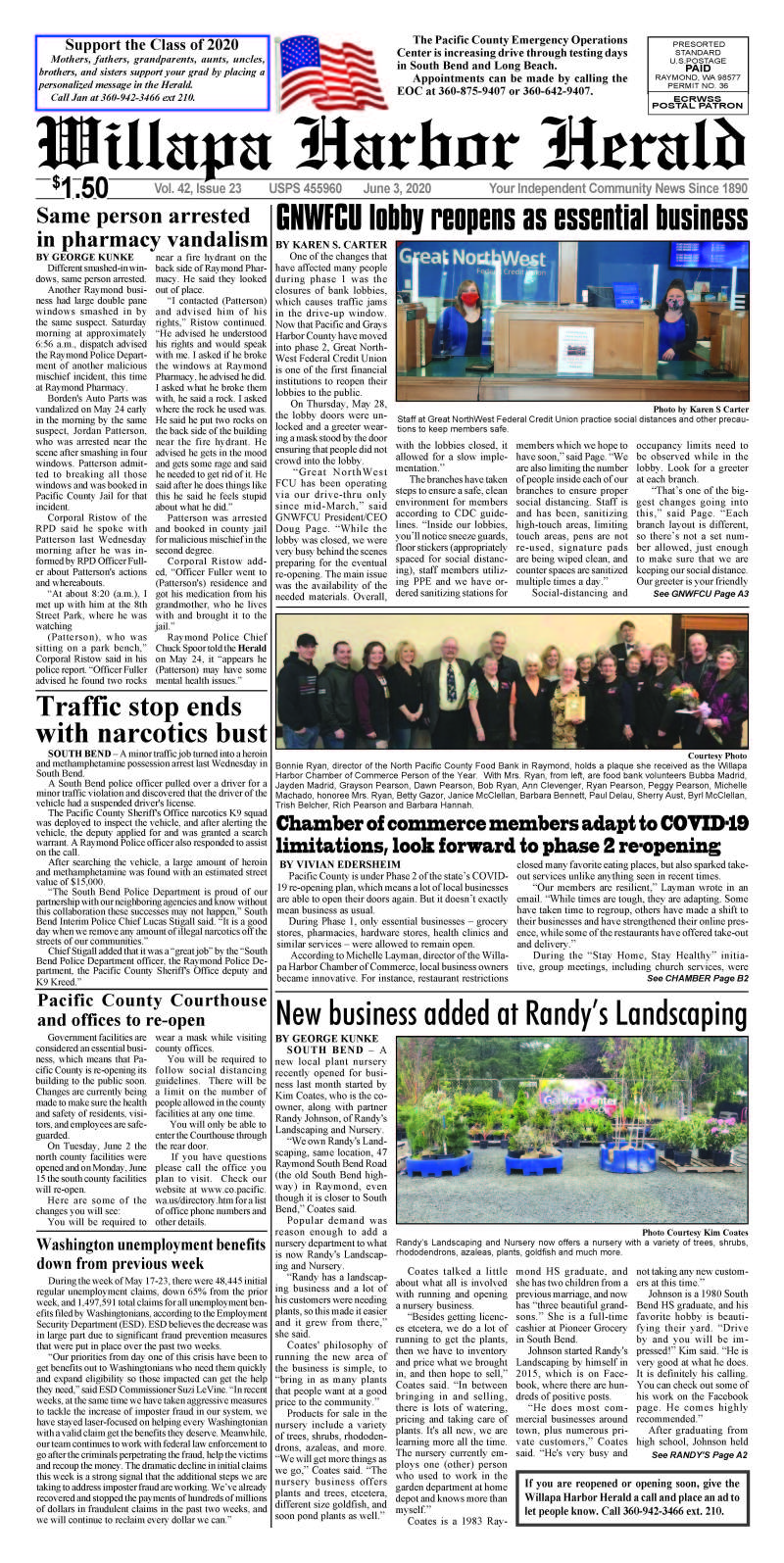 June 3, 2020 Willapa Harbor Herald and Pacific County Press