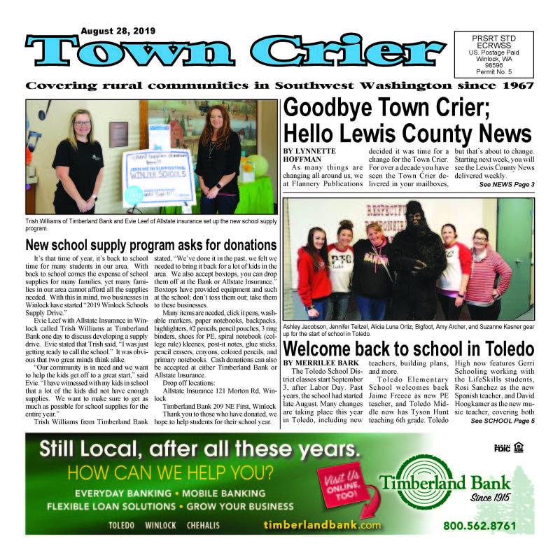 August 28, 2019 Town Crier