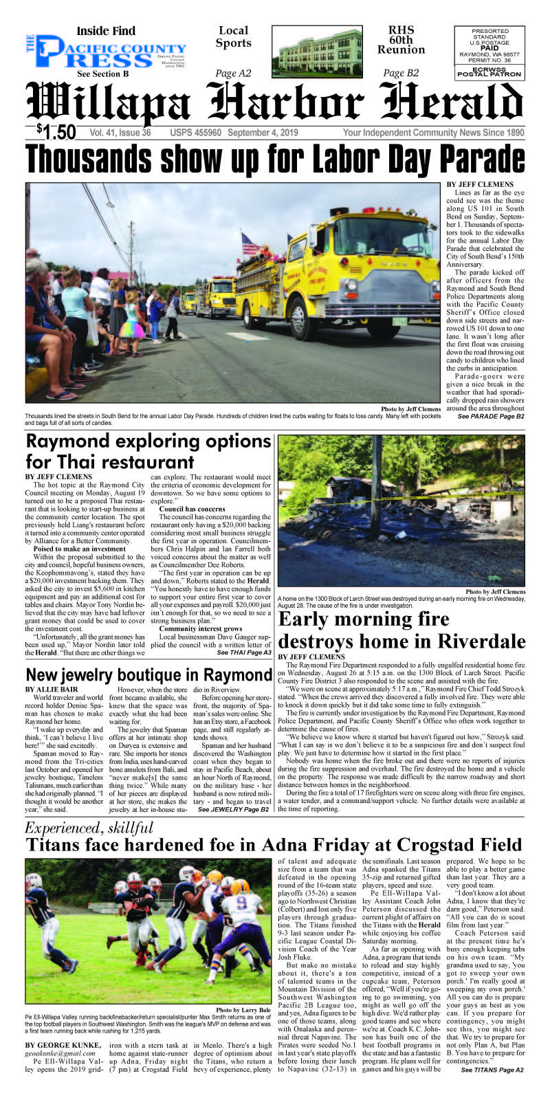 September 4, 2019 Willapa Harbor Herald and Pacific County Press