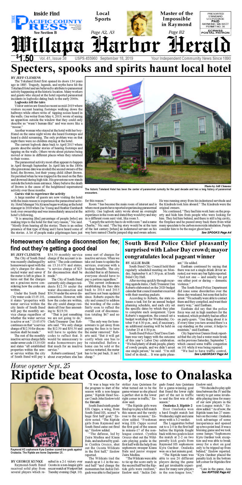 September 18, 2019 Willapa Harbor Herald and Pacific County Press