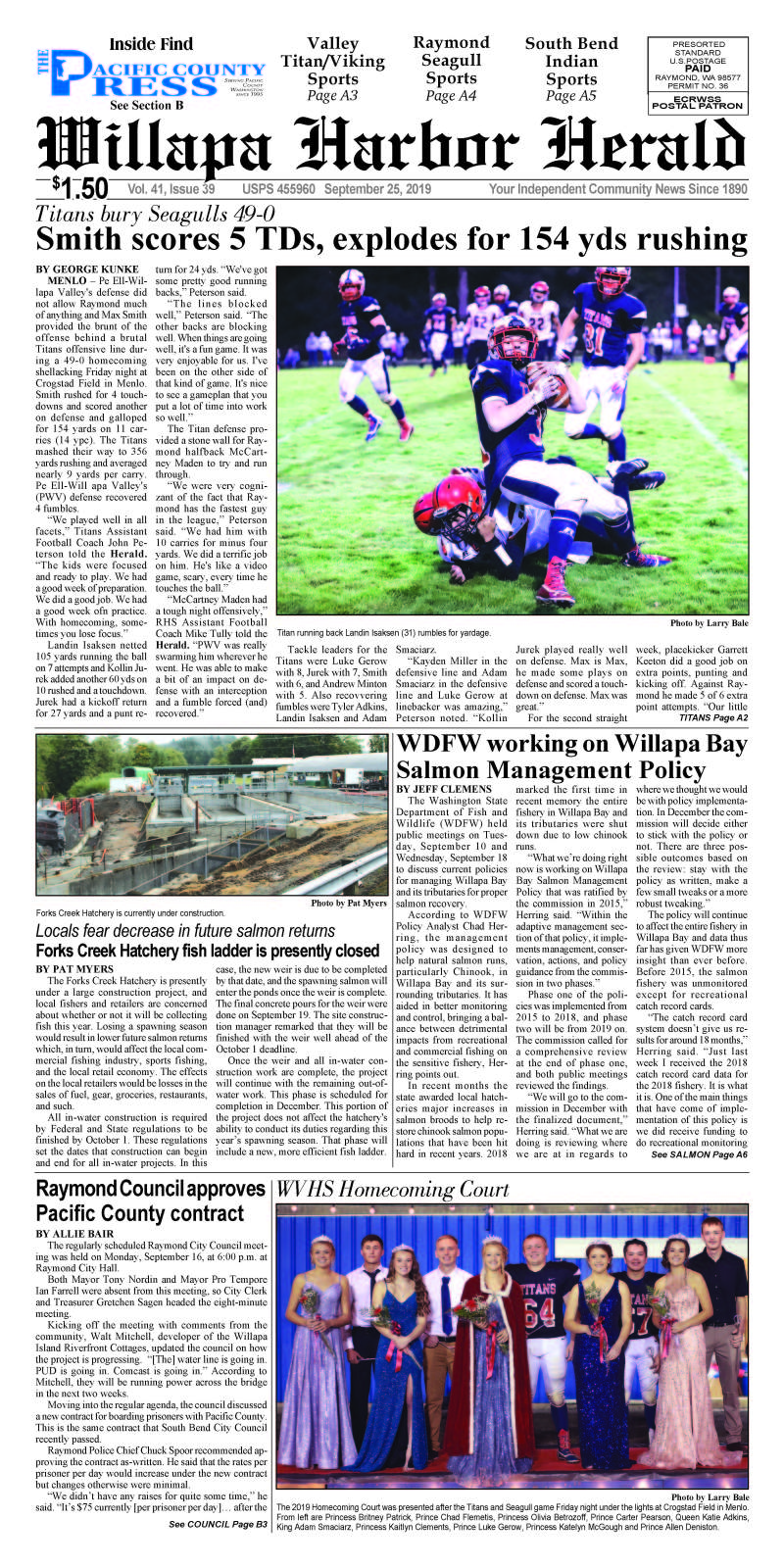 September 25, 2019 Willapa Harbor Herald and Pacific County Press