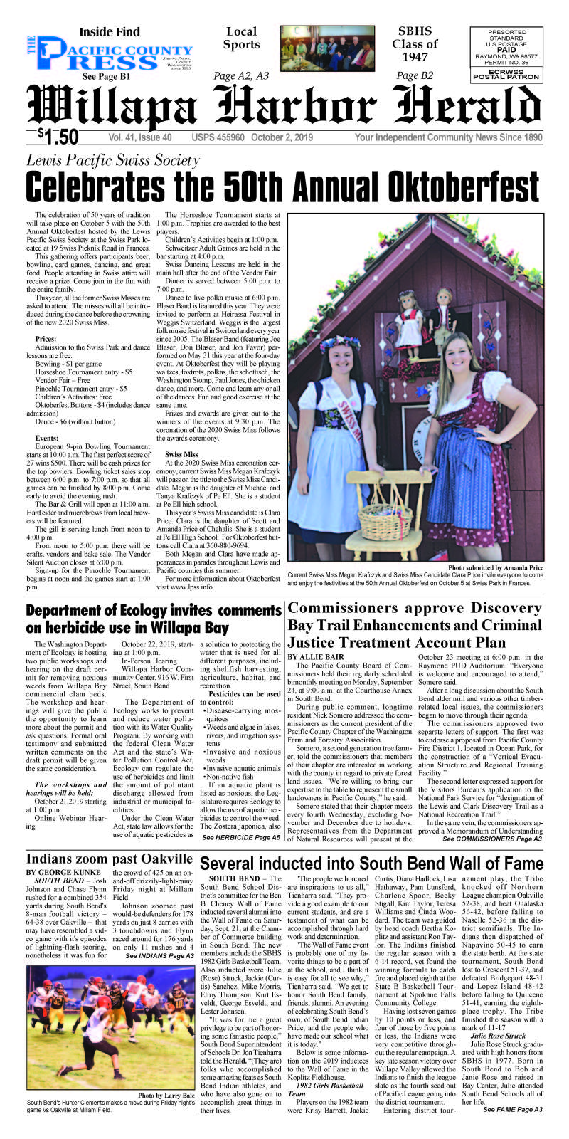 October 2, 2019 Willapa Harbor Herald and Pacific County Press