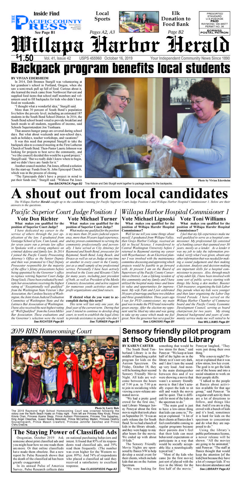 October 16, 2019 Willapa Harbor Herald and Pacific County Press