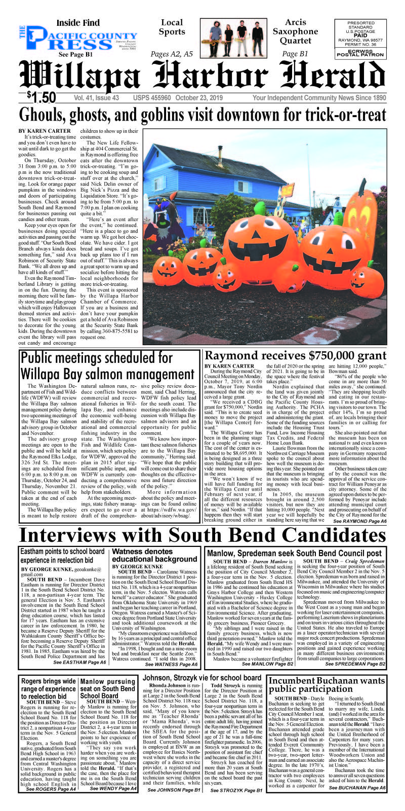 October 23, 2019 Willapa Harbor Herald and Pacific County Press