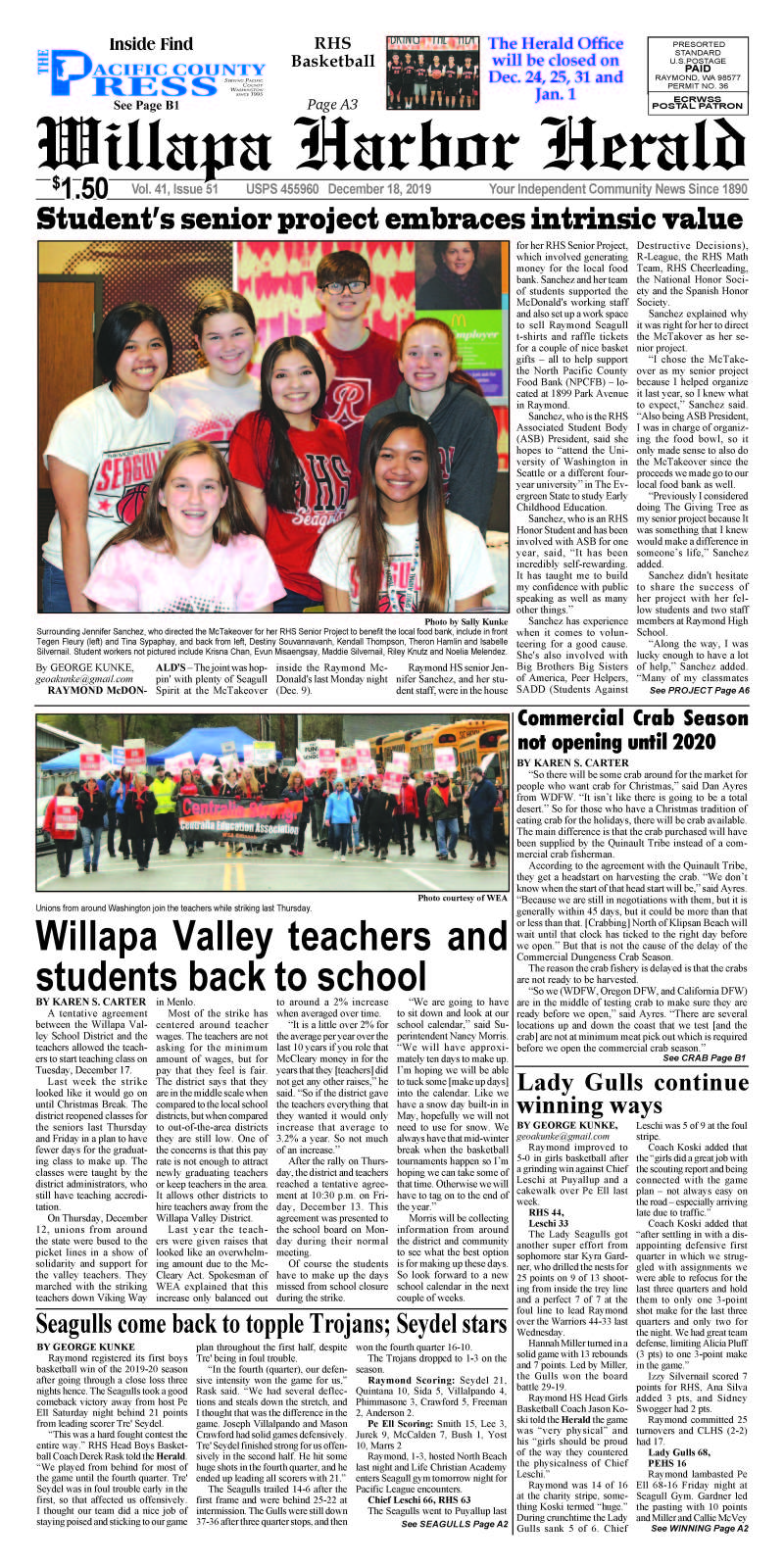 December 18, 2019 Willapa Harbor Herald and Pacific County Press