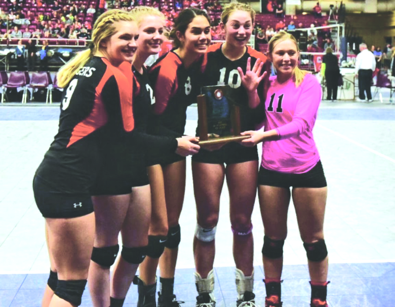 Napavine volleyball team left to right: Abbigail Music, Tyler Colburn, Melissa Lee, Mollie Olson and Madelyn Thompson