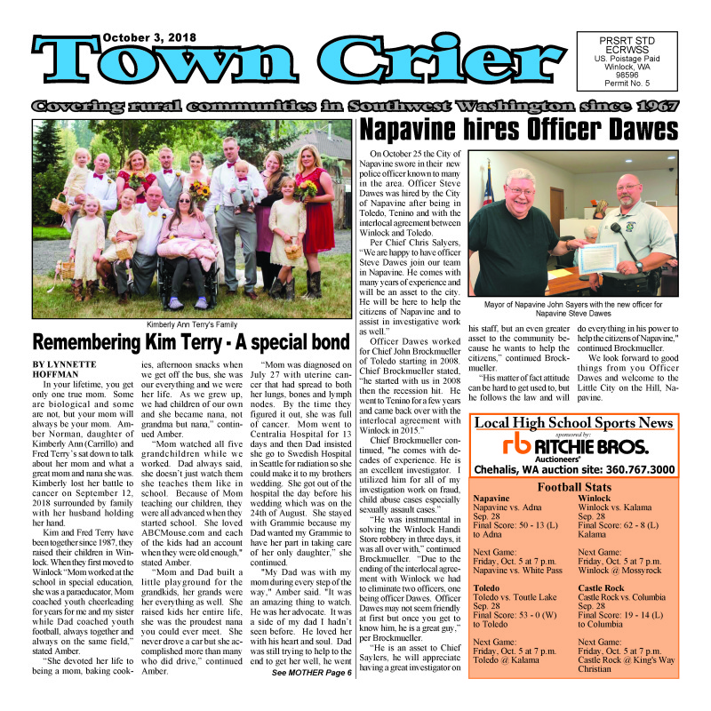 October 3, 2018 Town Crier