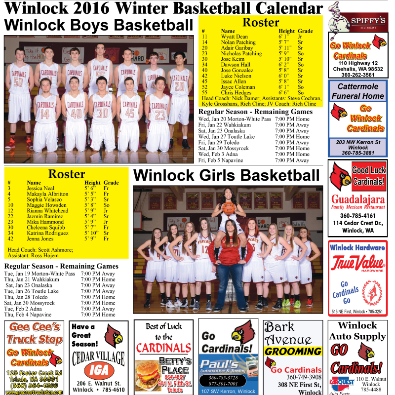 Winlock 2016 Winter Basketball Calendar