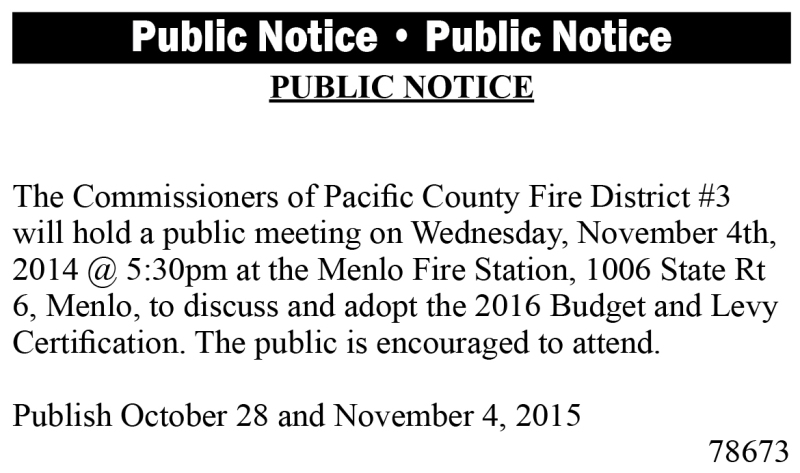 Legal 78673: Fire District 3 Public Notice