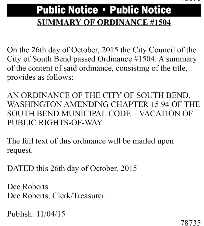 Legal 78735: Summary of Ordinance #1504