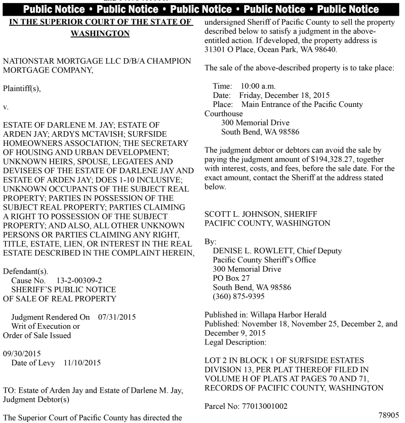 LEGAL 78905: Sheriff's Public Notice of Sale of Real Property