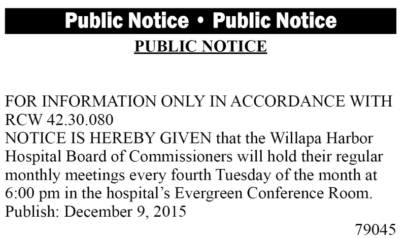 LEGAL 79045: Willapa Harbor Hospital Board of Commissioners meeting
