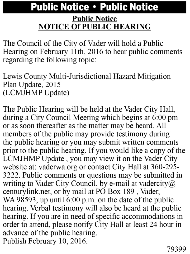 Legal 79399: NOTICE OF PUBLIC HEARING