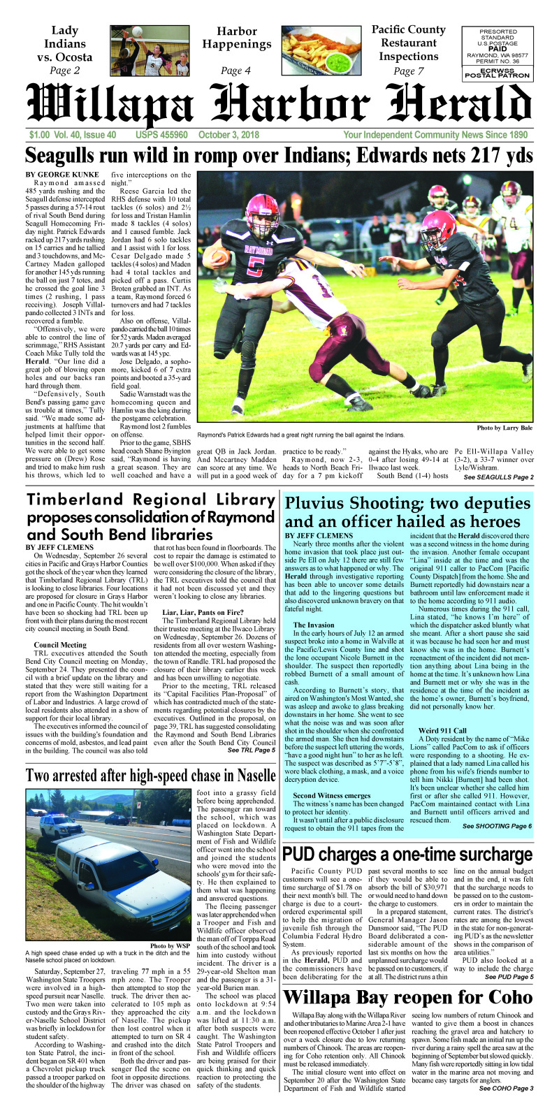 October 3, 2018 Willapa Harbor Herald