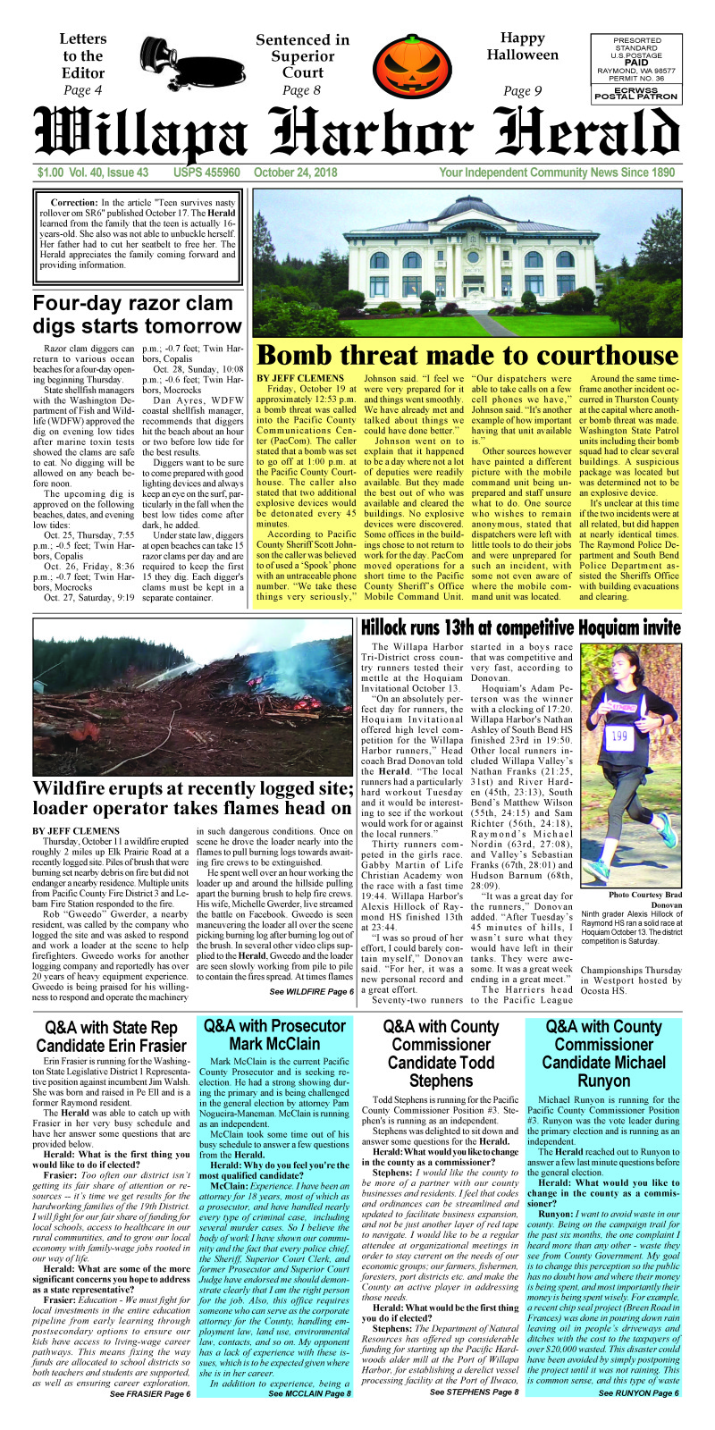 October 24, 2018 Willapa Harbor Herald