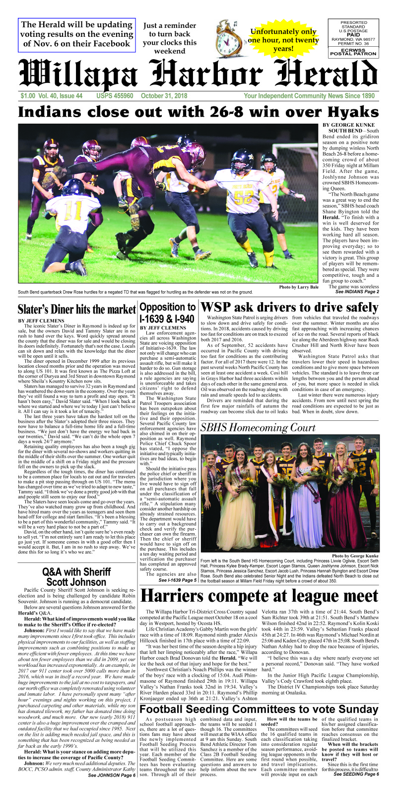 October 31, 2018 Willapa Harbor Herald