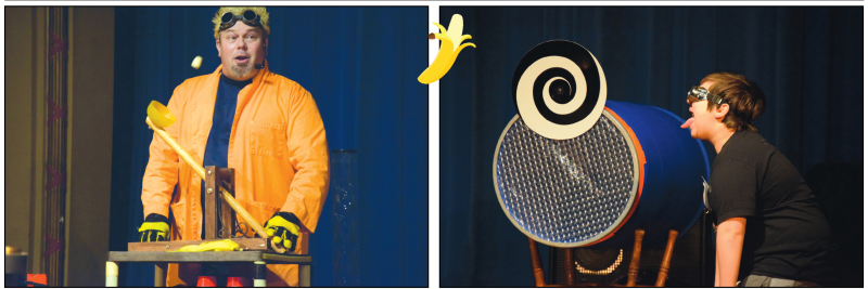 Photos by Todd Bennington - Mad scientist Doktor Kaboom!, a character portrayed by Seattle's David Epley, demonstrates the scientific principle behind the catapult as he launches a banana at a young audience volunteer at a Sunday performance at the Raymo