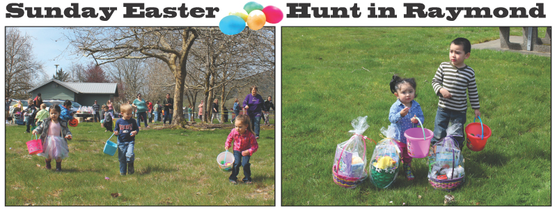 Photos by Daniel Enyart - Left, local youngsters fan out in search of Easter eggs at L.V. & Stella Raymond Memorial Park on Sunday. Right, a pair guards their take.
