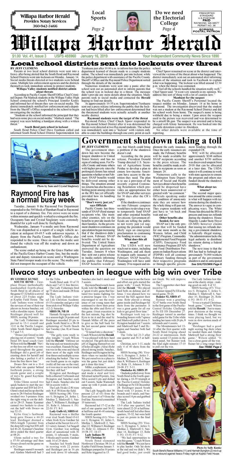January 16, 2019 Willapa Harbor Herald