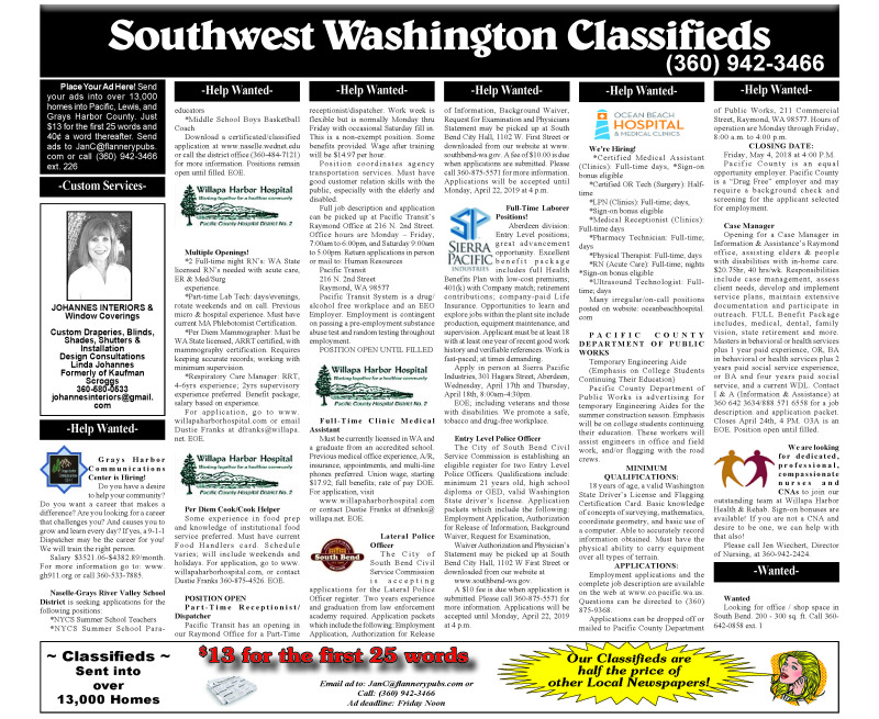 Classifieds 4.10.19
