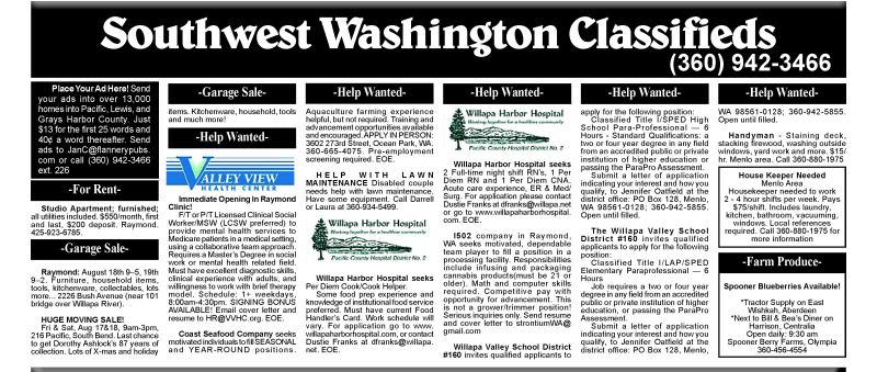 Classifieds 8.15.18
