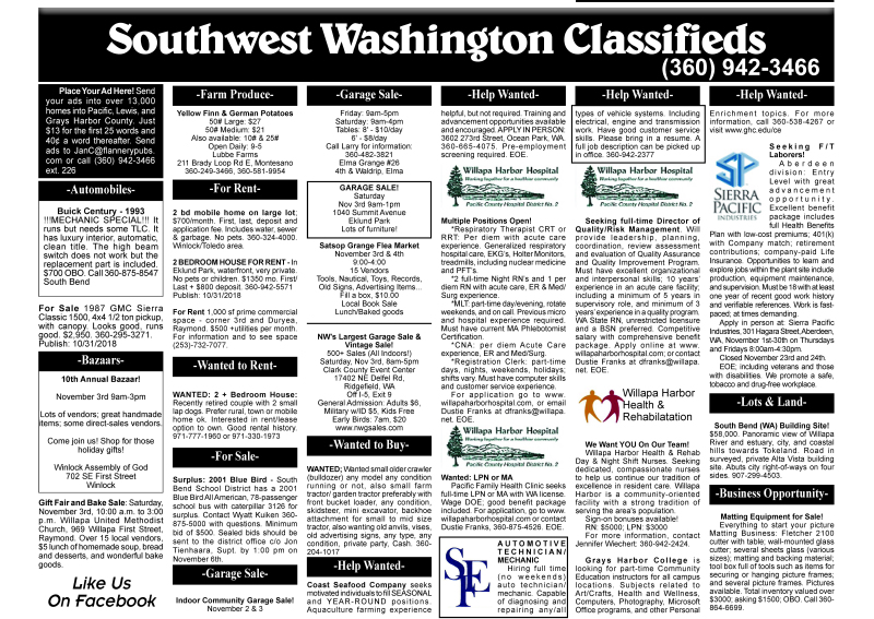 Classifieds 10.31.18