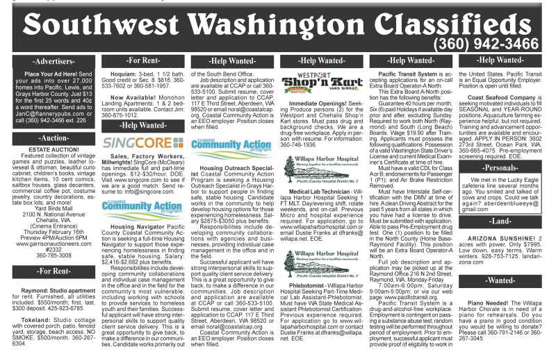 Classifieds 2.15.17