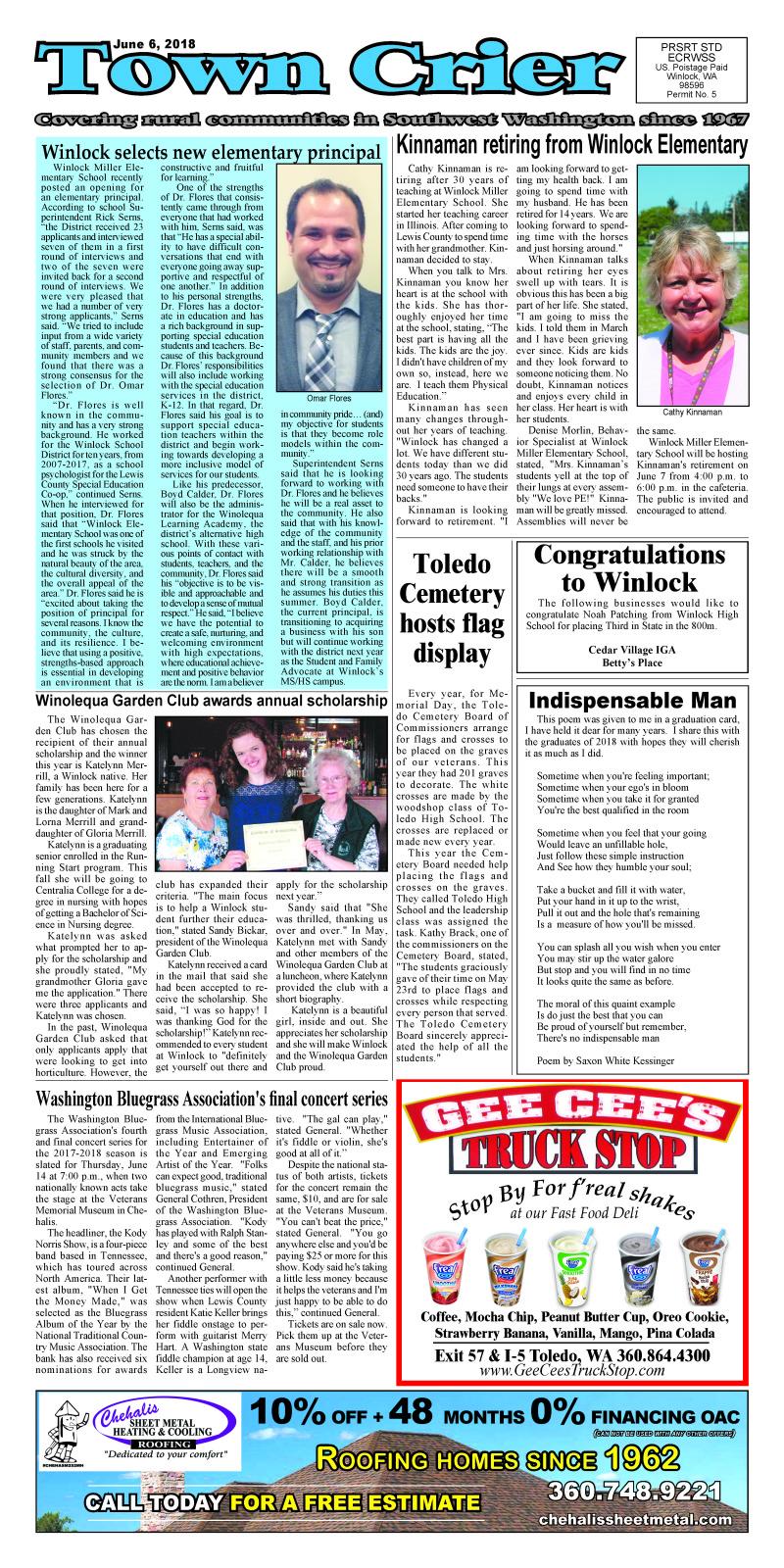 June 6, 2018 Town Crier