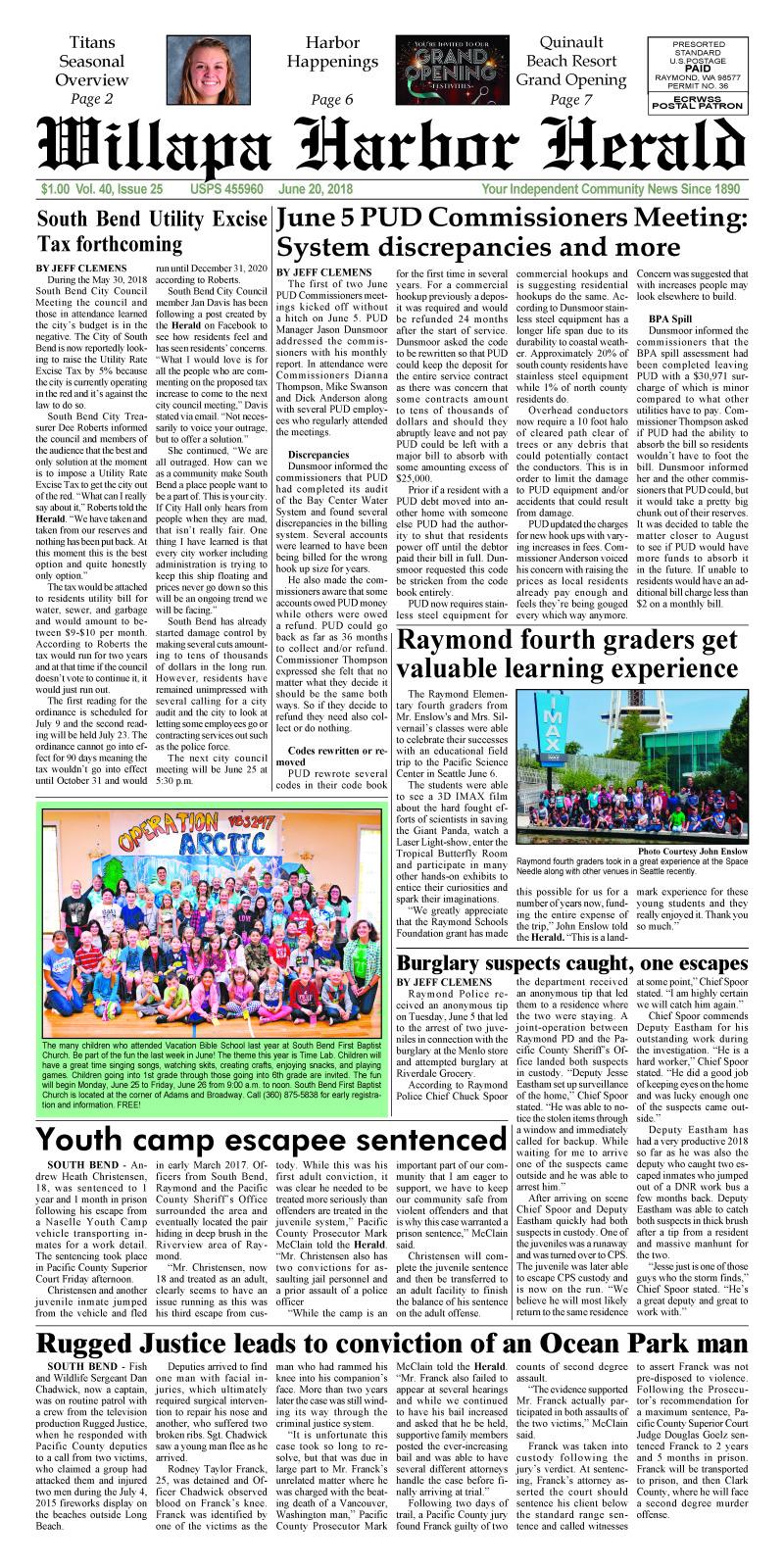 June 20, 2018 Willapa Harbor Herald