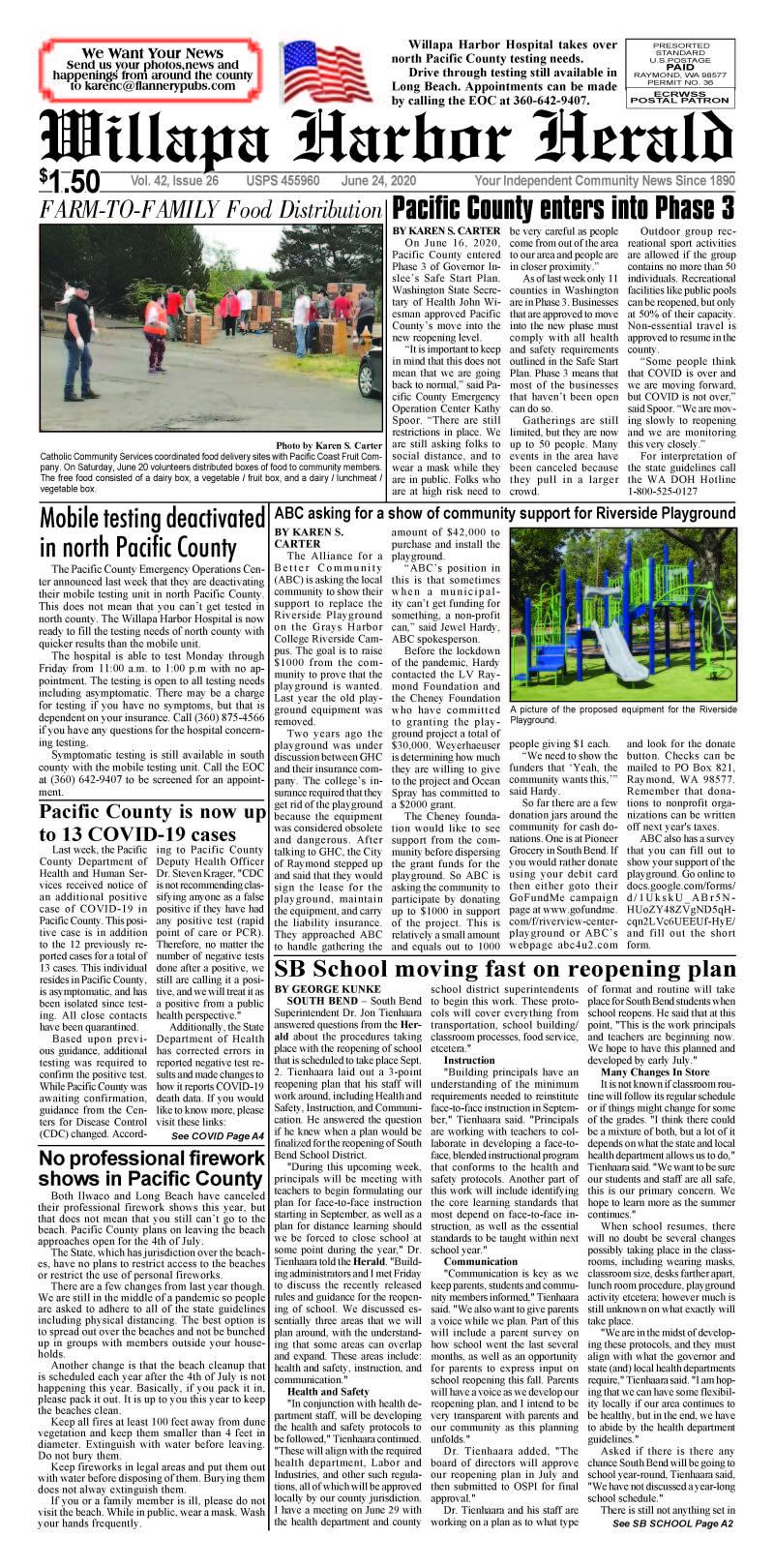 June 24, 2020 Willapa Harbor Herald and Pacific County Press