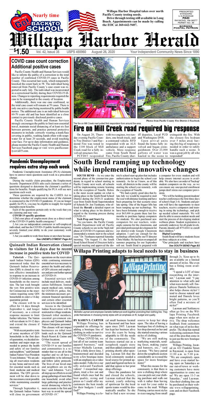 August 26, 2020 Willapa Harbor Herald and Pacific County Press