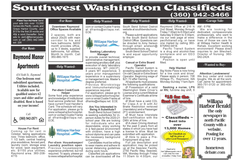 Classifieds 9.2.20