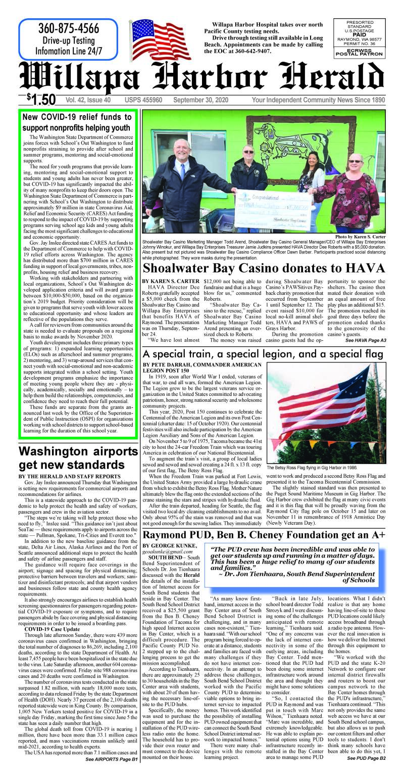 September 30, 2020 Willapa Harbor Herald and Pacific County Press