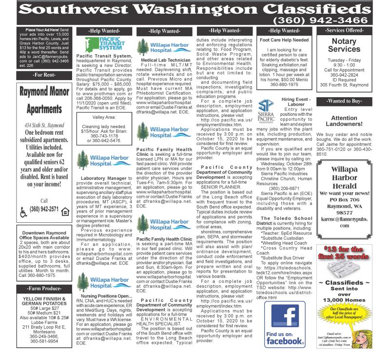 Classifieds 10.14.20