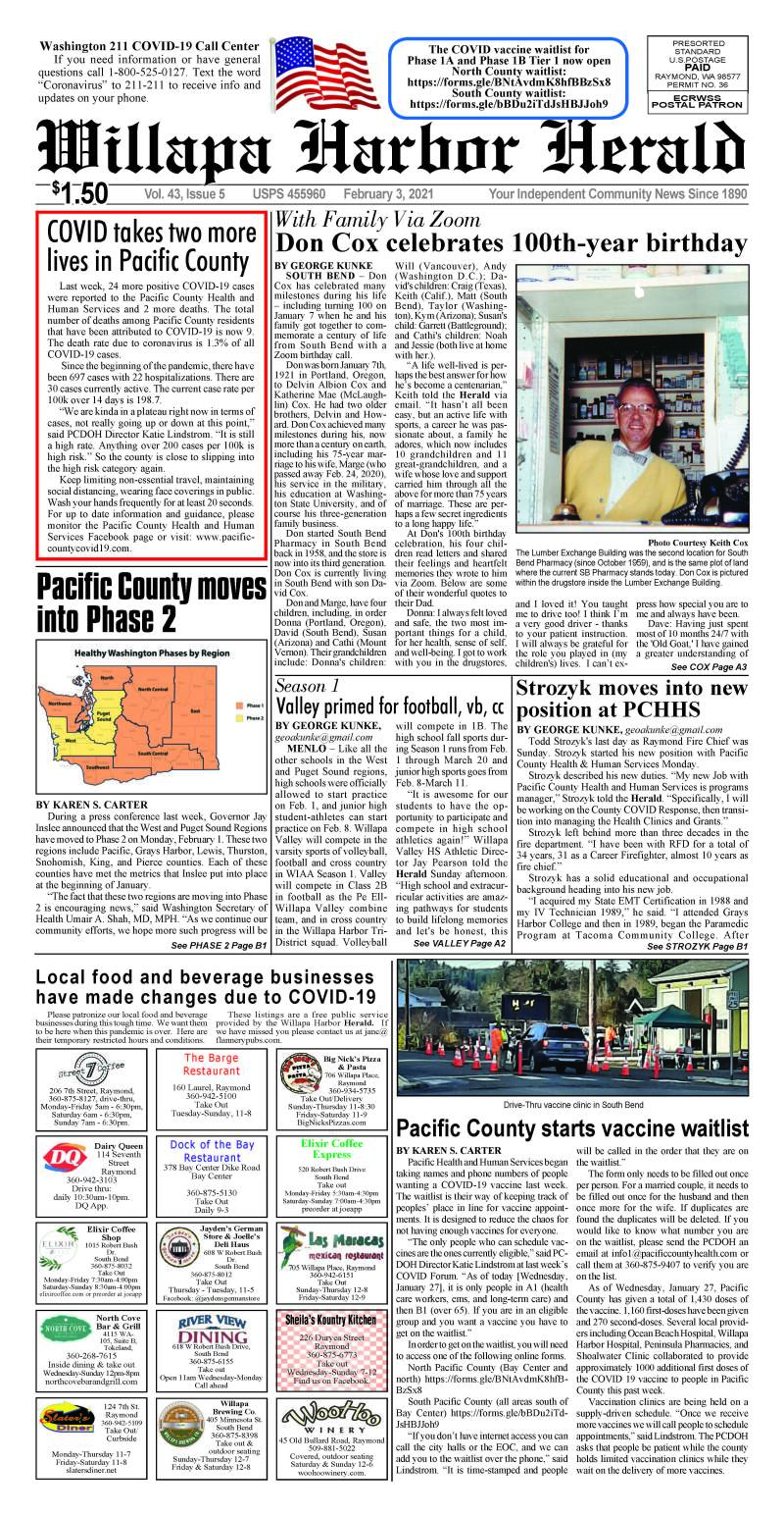 February 3, 2021 Willapa Harbor Herald and Pacific County Press