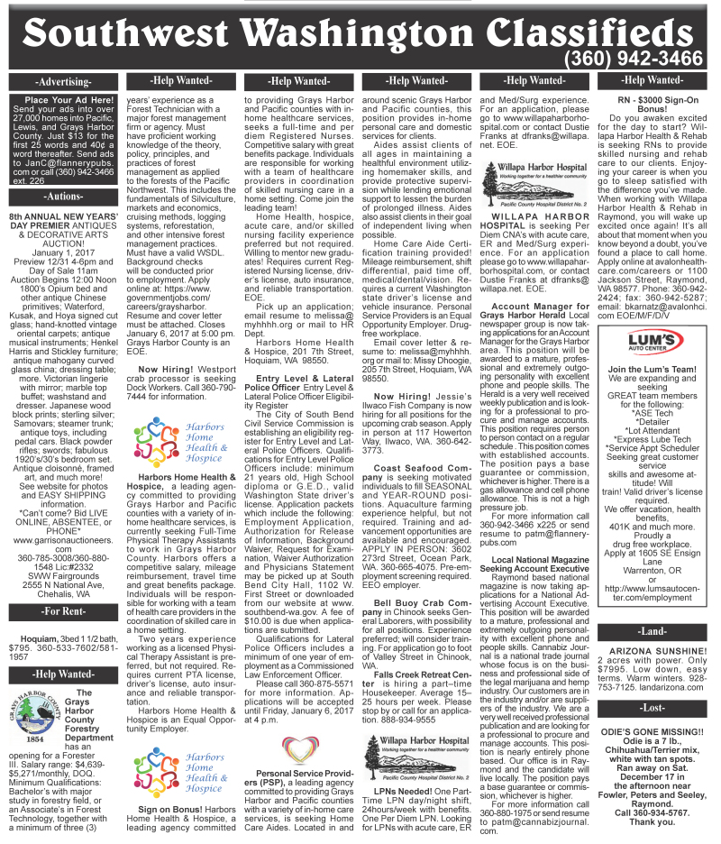 Classifieds 12.28.16