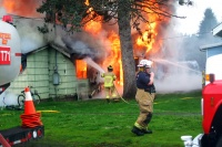 Fire destroys two buildings in Vader