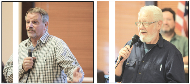 Steve Jones (photo on left) and Tony Nordin (photo on right) speak to a crowd of 40 at last weeks Candidate Forum held at the Community Center in South Bend.