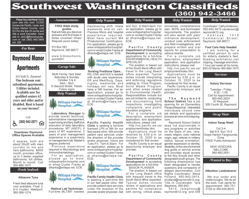 Classifieds 9.30.20