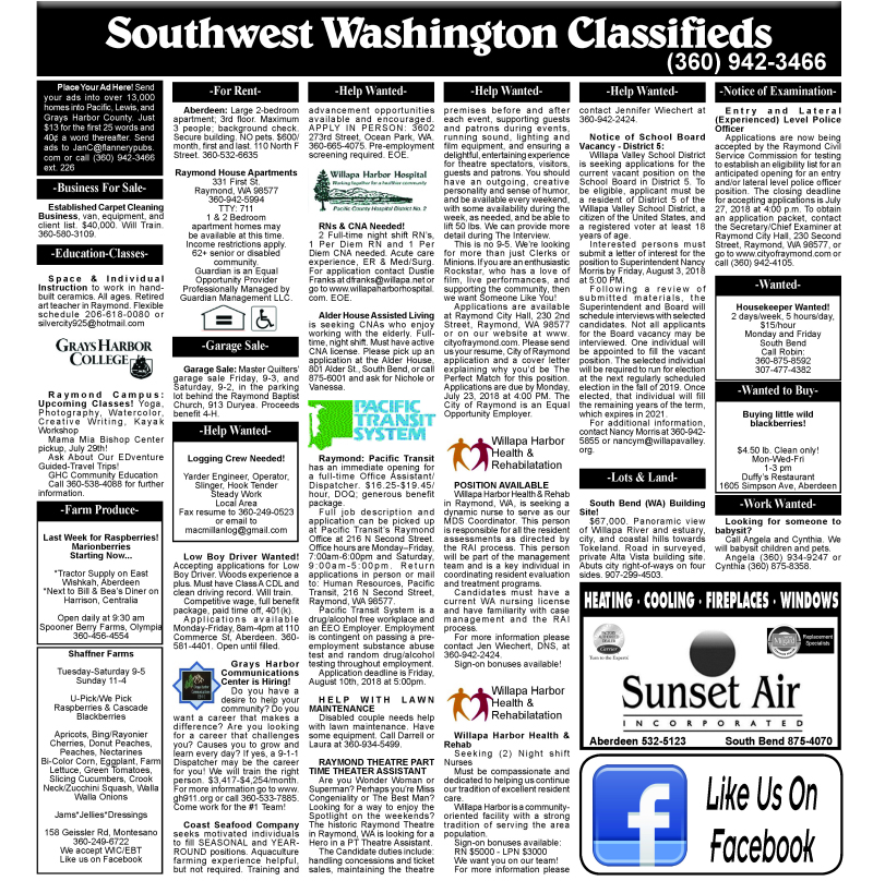 Classifieds 7.18.18