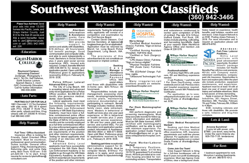 Classifieds 1.30.19