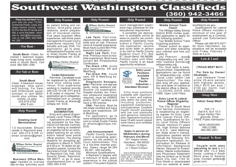 Classifieds 1.29.20