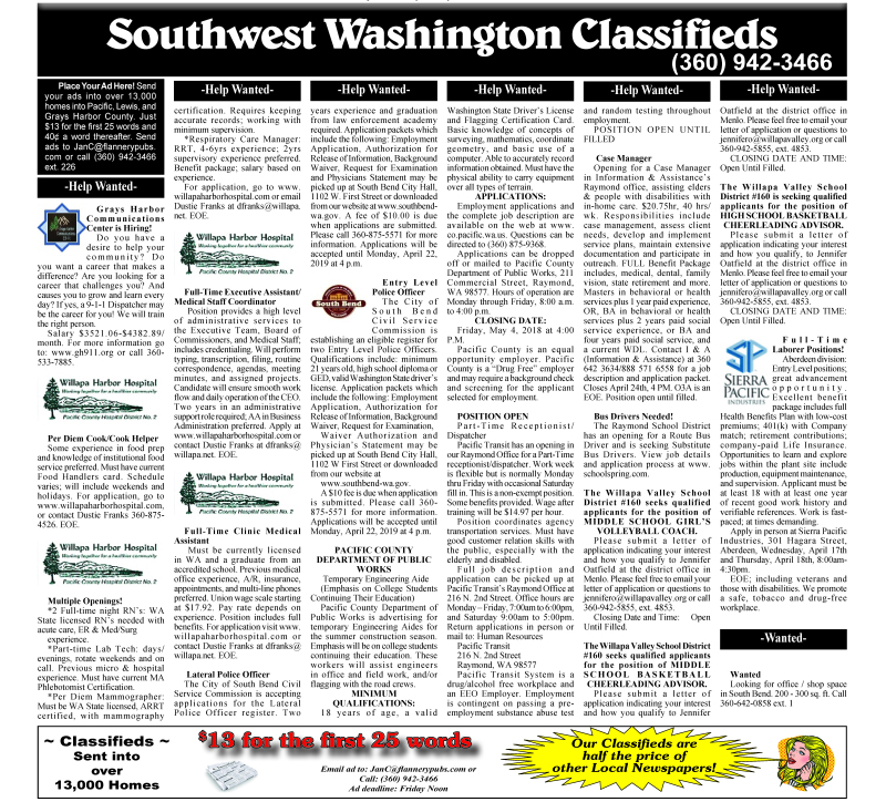 Classifieds 4.17.19