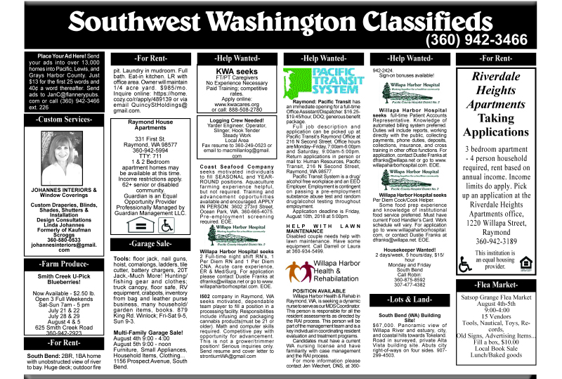 Classifieds 8.1.18