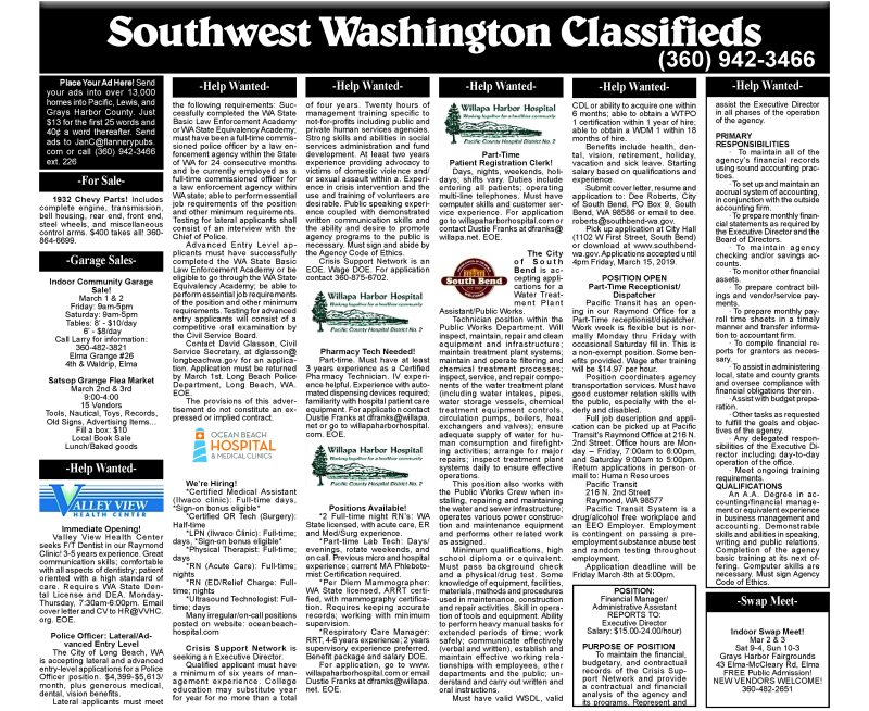 February 27, 2019 Classifieds