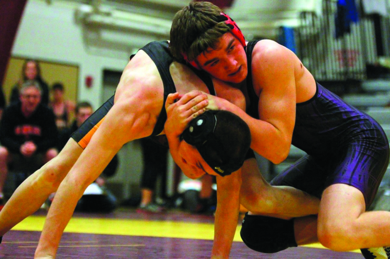 Photo by Larry Bale - Willapa Harbor wrestler Ben Byington of South Bend HS works to a first place finish at 152 pounds during Saturday's 12-team Willapa Harbor Wrestling Invitational.